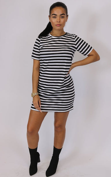 Outlaw Black and White Stripe Dress dresses Splashy