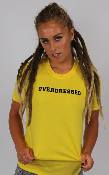 Overdressed Graphic Parody Yellow T-Shirt T-Shirt Splashy