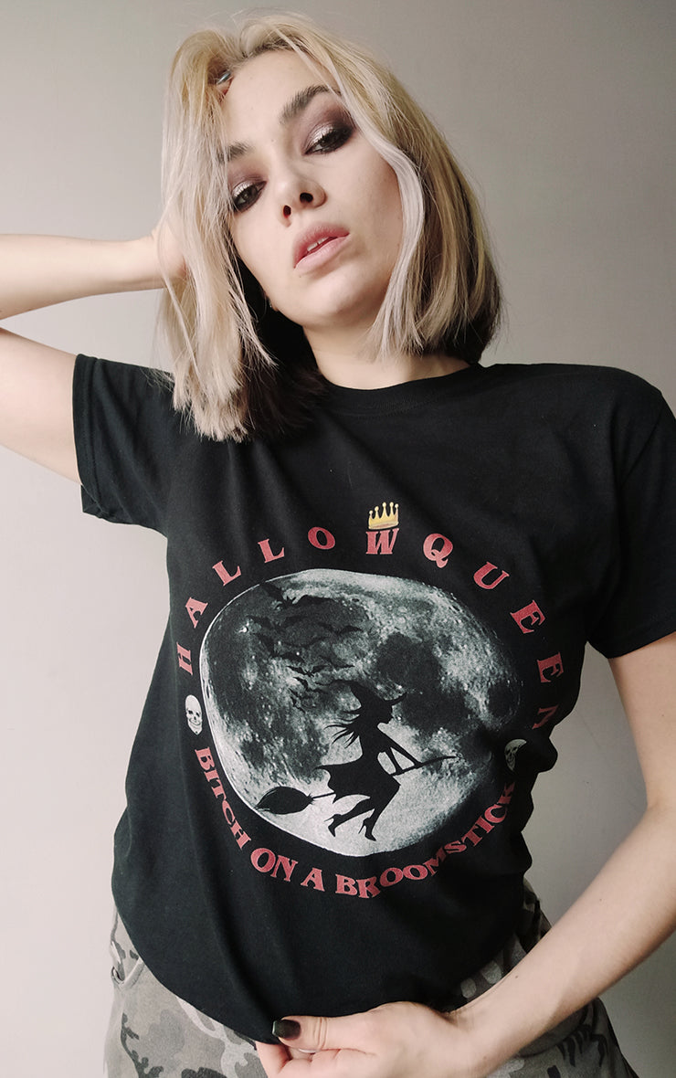 Halloqueen 🎃 Bitch on a Broomstick Black T-Shirt