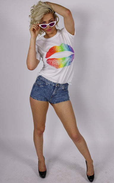 Rainbow Pride Lips White T-Shirt T-Shirt Splashy
