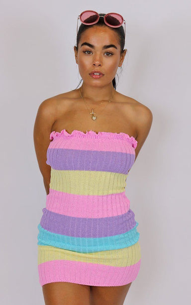 Rainbow Stripe Bodycon Dress dresses Splashy