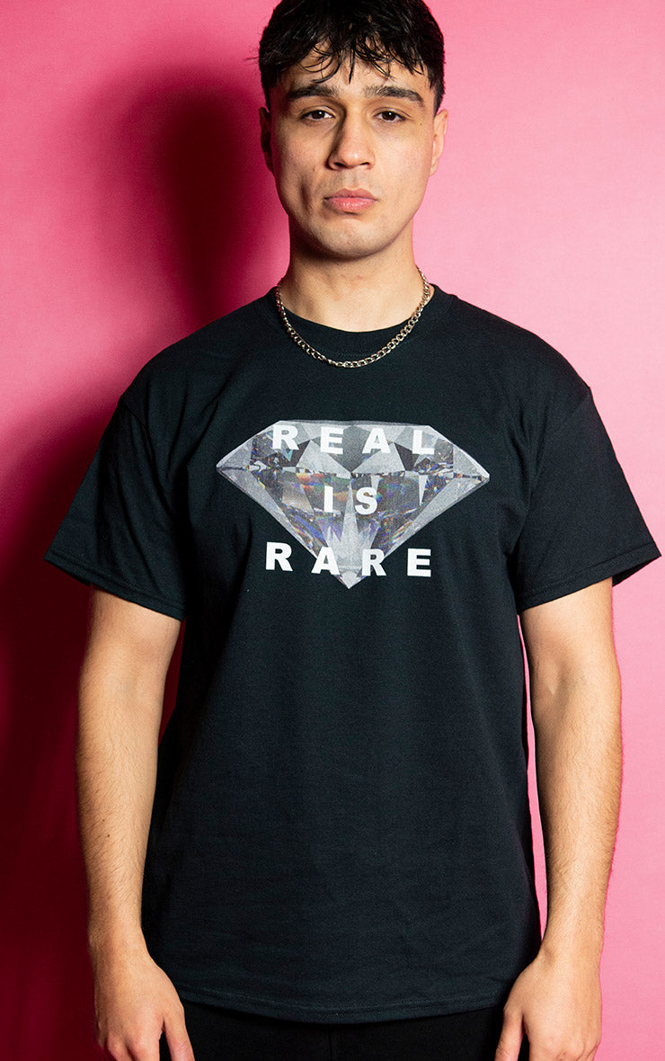 Real is Rare Mens Causal Black T-Shirt