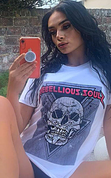 Rebellious Soul White T-Shirt T-Shirt Splashy