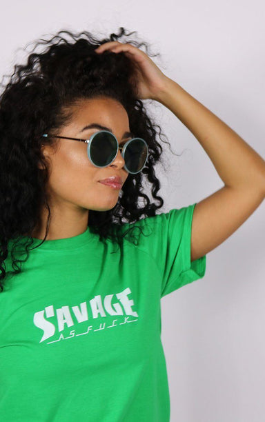 Savage Funny Graphic Green T-Shirt T-Shirt Splashy