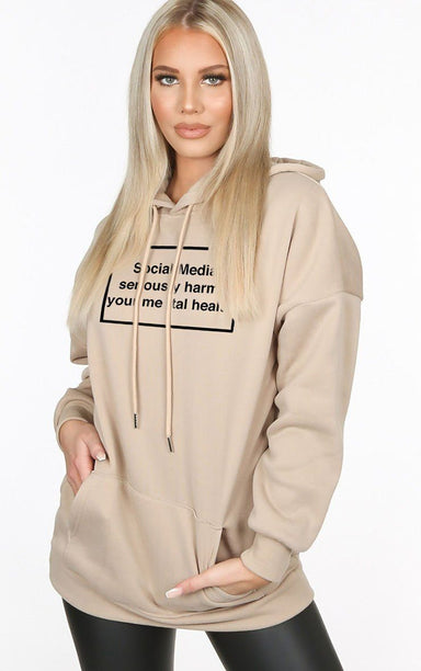 Social Media Serious Harms your Mental Health Sand Hoodie Hoodie Splashy