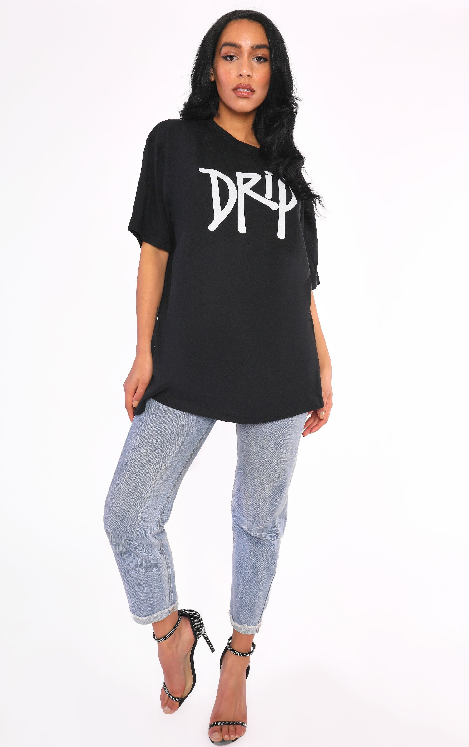 Drip Spray Paint Graffiti Wall Art Black T Shirt