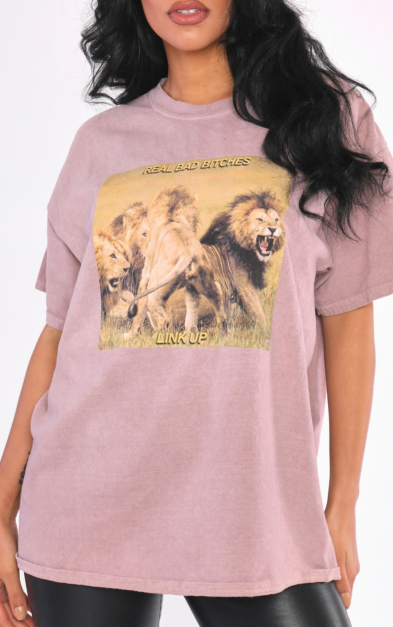 Real Bad Bxtches Link Up Lion Pack Camel T Shirt