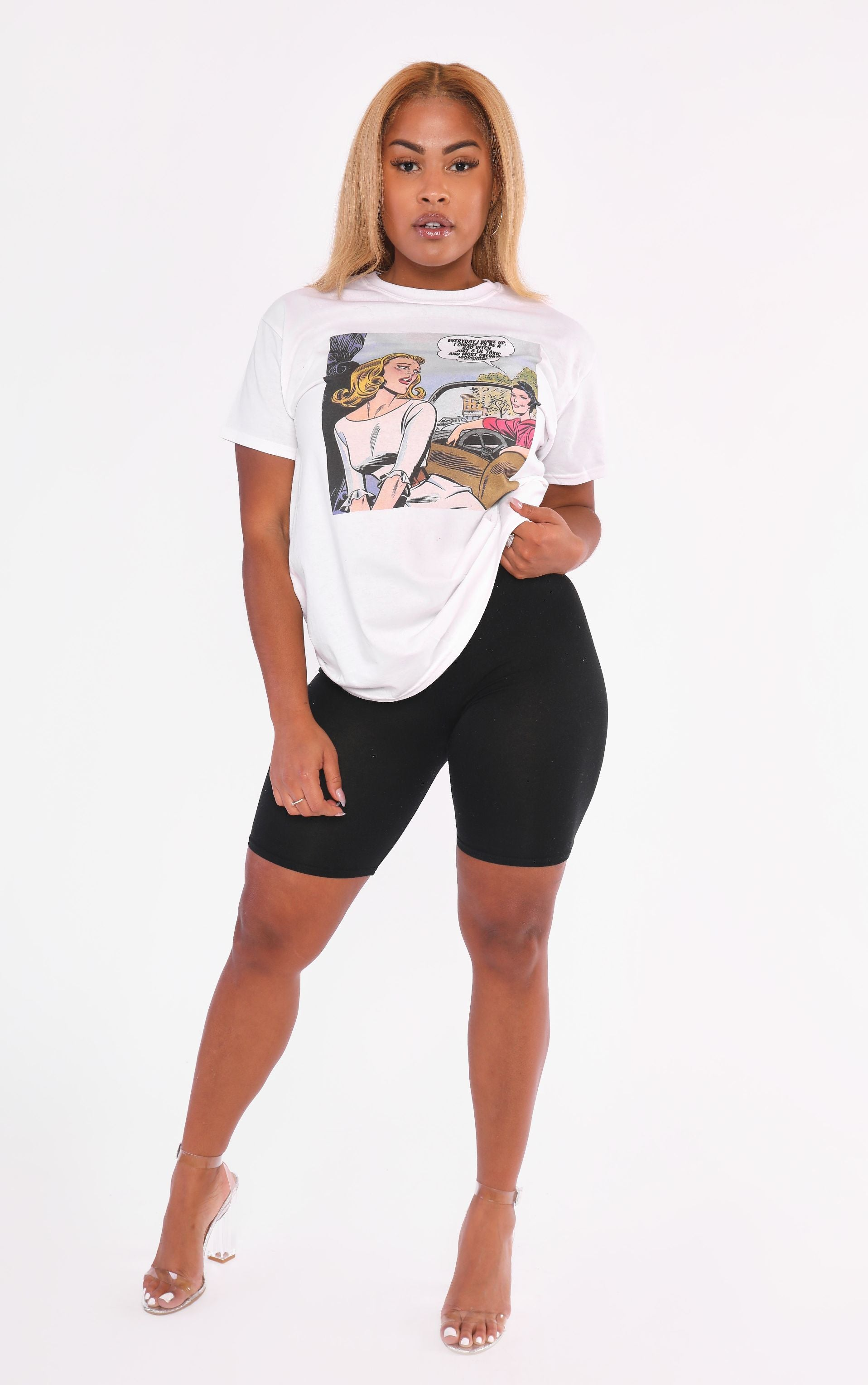 Flyest on Road Bad Bxtch White T Shirt