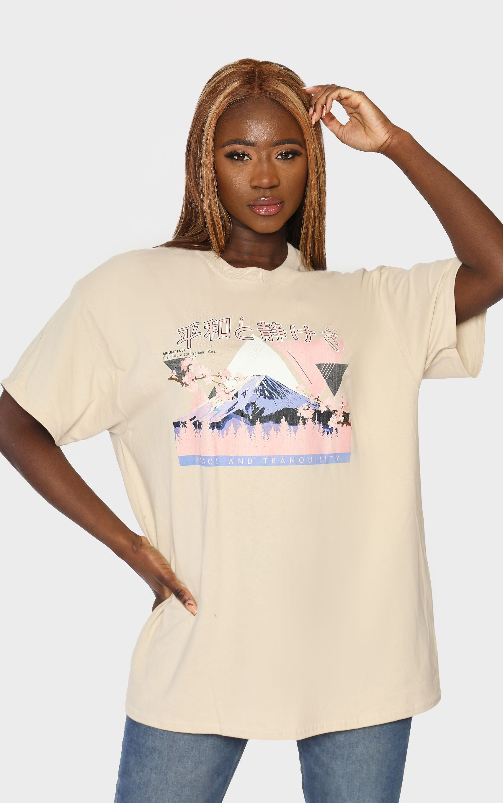 Mount Fuji Peace and Tranquility Sand T-Shirt