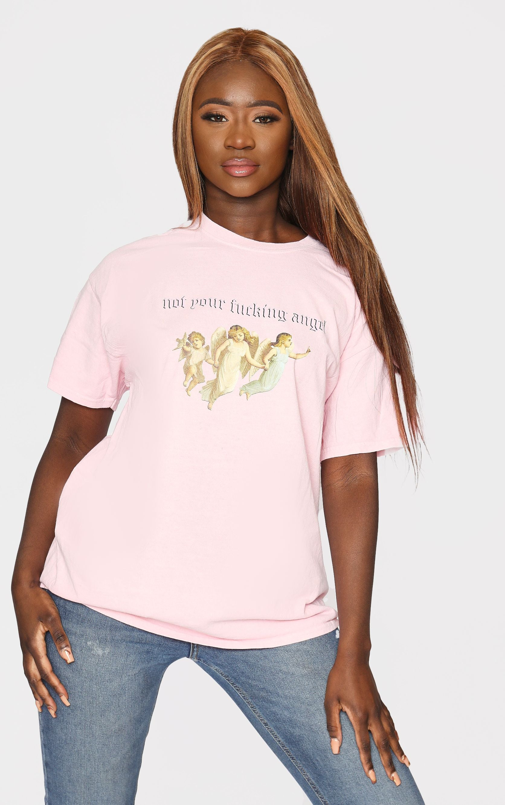 Not Your Angel Baby Pink Oversized Tee