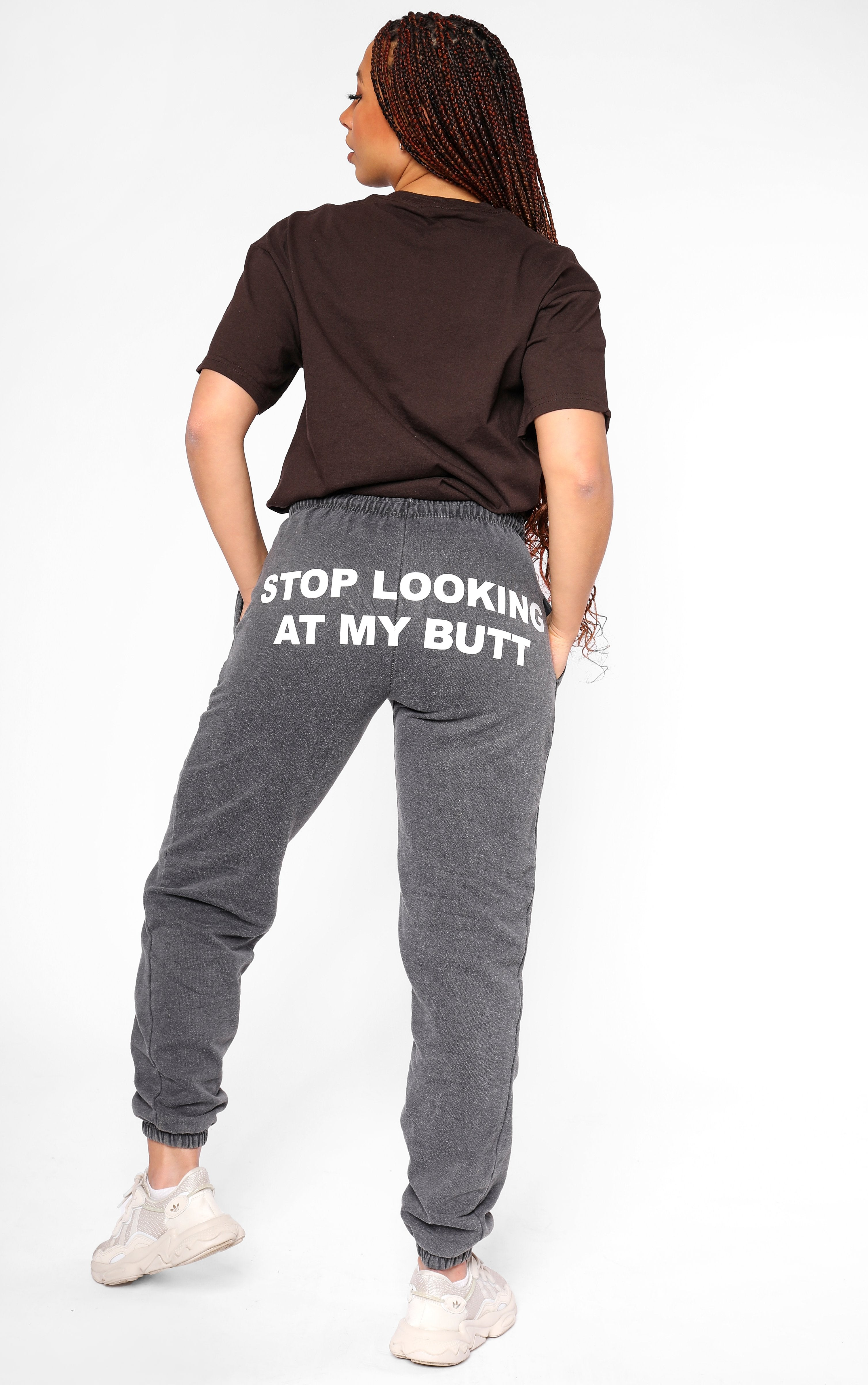 Stop Looking at my Butt Charcoal Cuffed Joggers