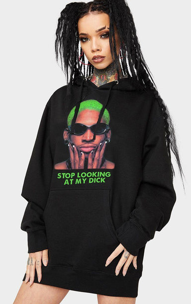 Stop Looking at My Dick Rodman Black Hoodie Hoodie Splashy