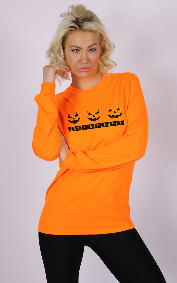 Trick or Treat Halloween Pumpkin Face Long Sleeve Orange T-Shirt