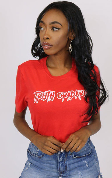 Truth Or Dare Cool Graphic Red T-Shirt T-Shirt Splashy