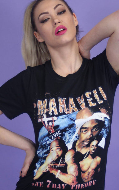 Tupac Shakur Makaveli 7 Day Theory Oversized Black T-Shirt T-Shirt Splashy
