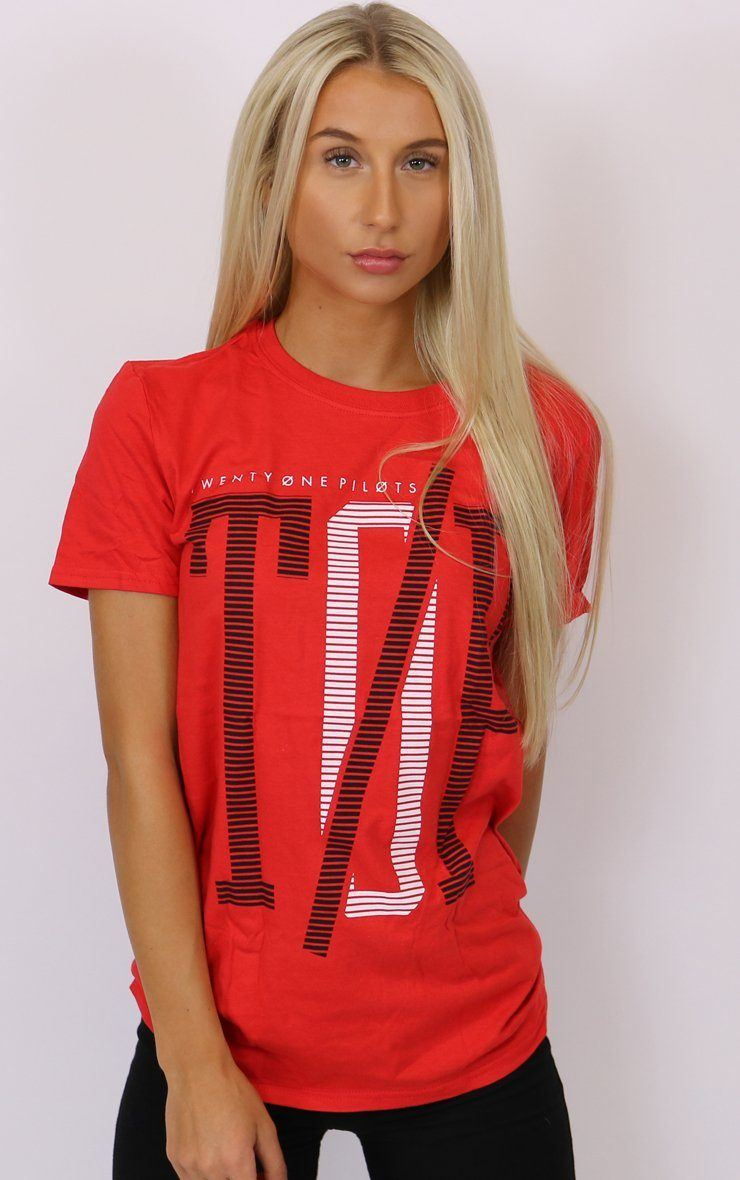 Twenty One Pilots Initial Line Red T-Shirt T-Shirt Splashy