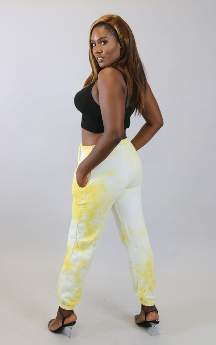 Daisy Yellow/White Boyfriend Cuffed Joggers