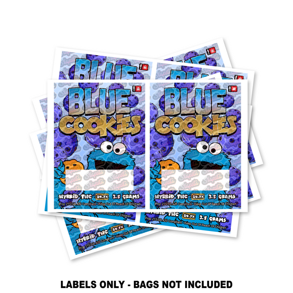 Blue Cookies Mylar Bag Labels ONLY SLAPSTA
