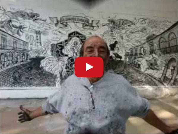 "Making of: ""Symphony La Siempre Habana"", Charcoal on Canvas, 10x30 Ft., by Luis Miguel Valdes"