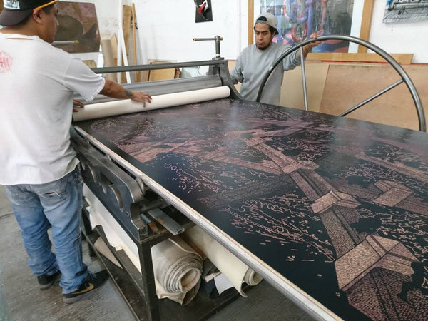 "Making of: ""A Night At The Malecón"", large woodcut by Luis Miguel Valdes"
