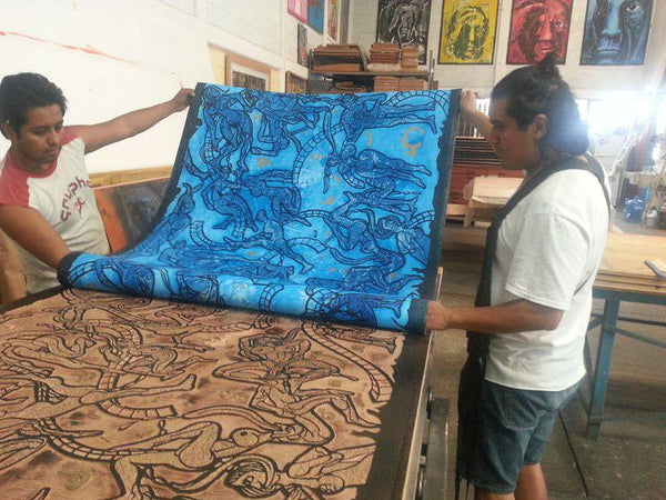 "Making of: ""La Lengua Castellana"", large woodcut by Luis Miguel Valdes"