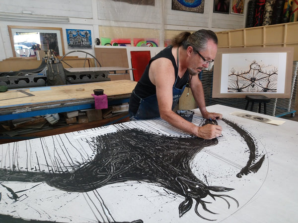 "José BEDIA, ""Animal Armado"", Woodcut -BED106 (Work in progress)"