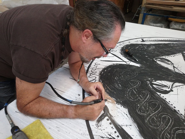 "José BEDIA, ""Madre de Guerra"", Woodcut -BED107 (in progress)"