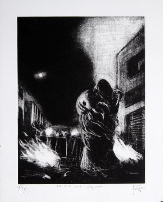 "Fernando ACEVES HUMANA, ""What they brought us"", Etching"