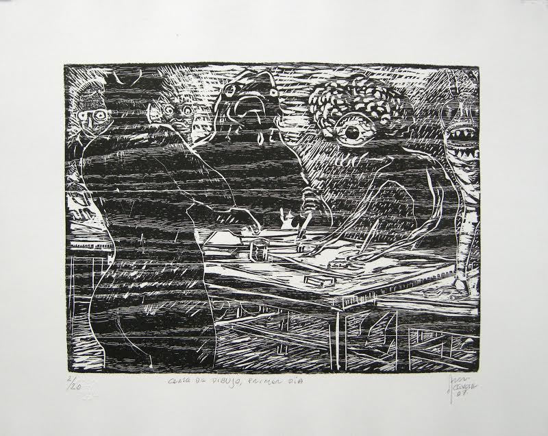 "Fernando ACEVES HUMANA, ""First day drawing class"", Woodcut"