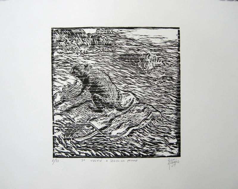 "Fernando ACEVES HUMANA, ""The dog came back out"", Woodcut"