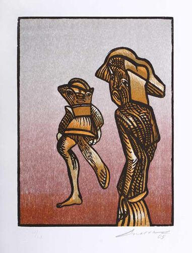"José Luis CUEVAS 103, ""Ghosts of the Historical Center (Cofre- 5 Works)"", Woodcut"
