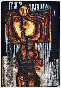 "Nelson DOMÍNGUEZ, ""Untitled"", Woodcut"