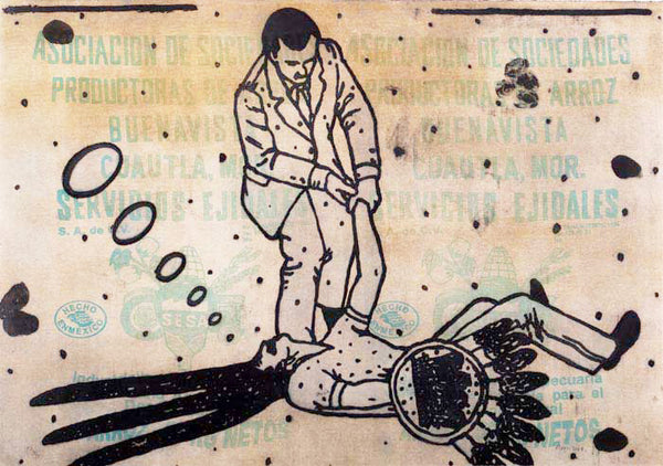 "Demián FLORES, ""Self Defense"", Etching"