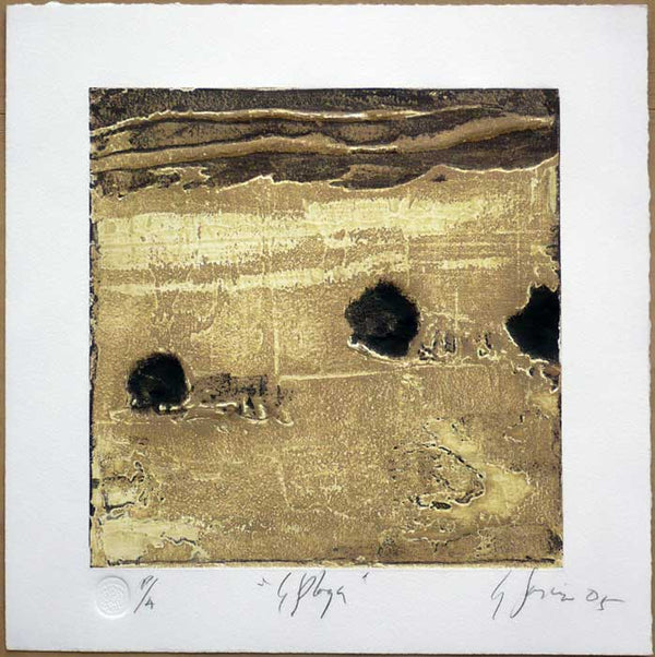 "Carlos GARCÍA DE LA NUEZ, ""The beach"", Collagraph"