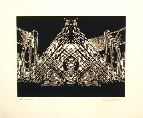 "Leonardo GOTLEYB, ""Only in the city"", Woodcut"