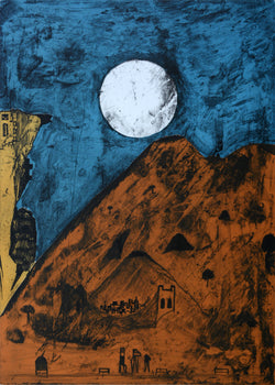 "Bernardo NAVARRO TOMAS, ""Luna de Tepoztlan"", Etching and aquatint (NAA103)"