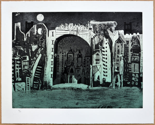 "Bernardo NAVARRO TOMAS, ""Nighttime"", Etching, aquatint and dry point (NAA106)"