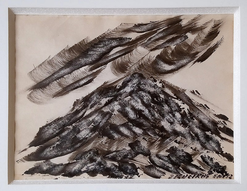 "David Alfaro SIQUEIROS, #2, ""Volcán con nubes"", Ink on paper"