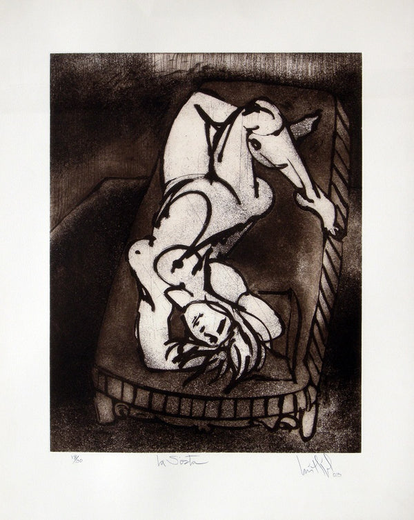"Luis Miguel VALDÉS, #156 ""The nap"", Etching"