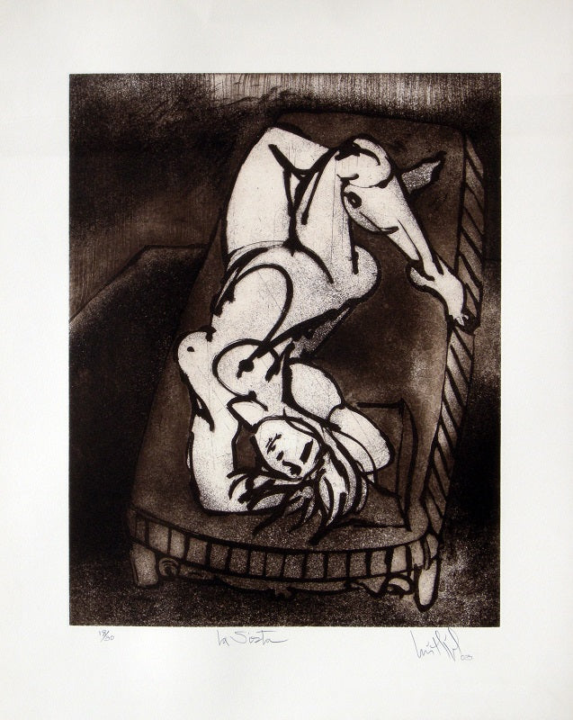 "Luis Miguel VALDÉS, ""The nap"", Etching (VAL156)"