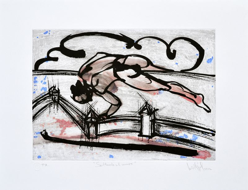 "Luis Miguel VALDÉS, ""Jumping the Wall"", Etching and sugar lift (VAL285)"