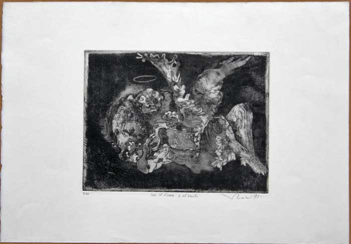 "Vladímir KIBÁLCHICH VLADY, ""Leja, the swan and the saint"", Etching"