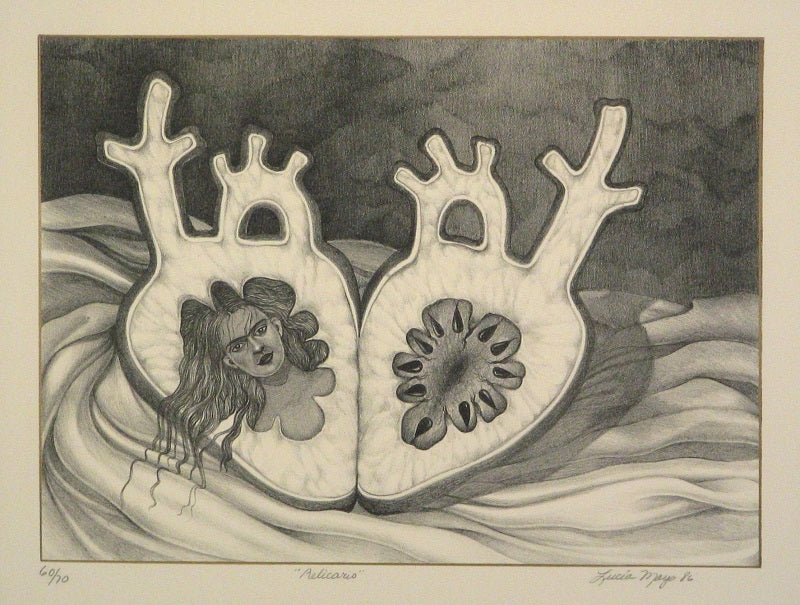 "Lucia Maya, ""Relicario"", Lithograph & Watercolor (MAY304)"