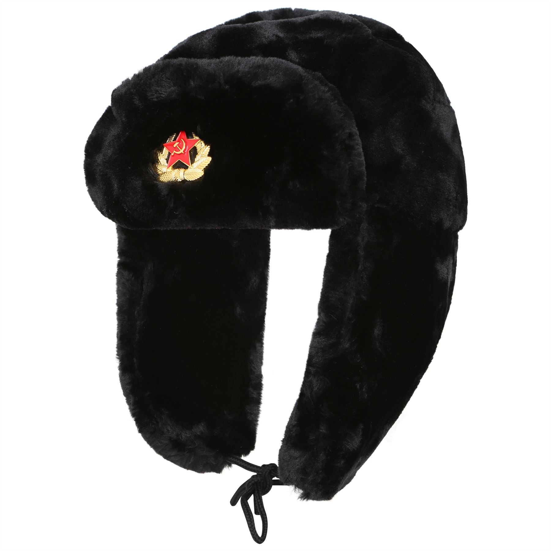 Classic Russian Army Style HT0011RUSSIAN Trapper Hat Black 58-60cm