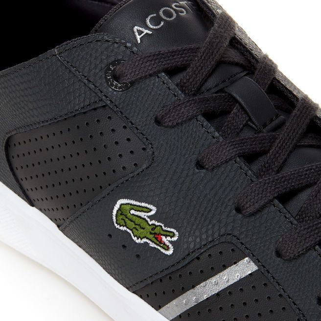 LACOSTE NOVAS 118 2 SPM DK GRY/SLV LEATHER TRAINERS UK 6-11