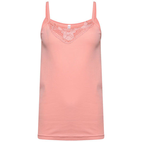 Women LACE VEST SALMON