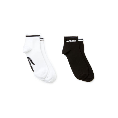 Lacoste Mens Low Cut Ankle Fashion Sport Socks Black & White