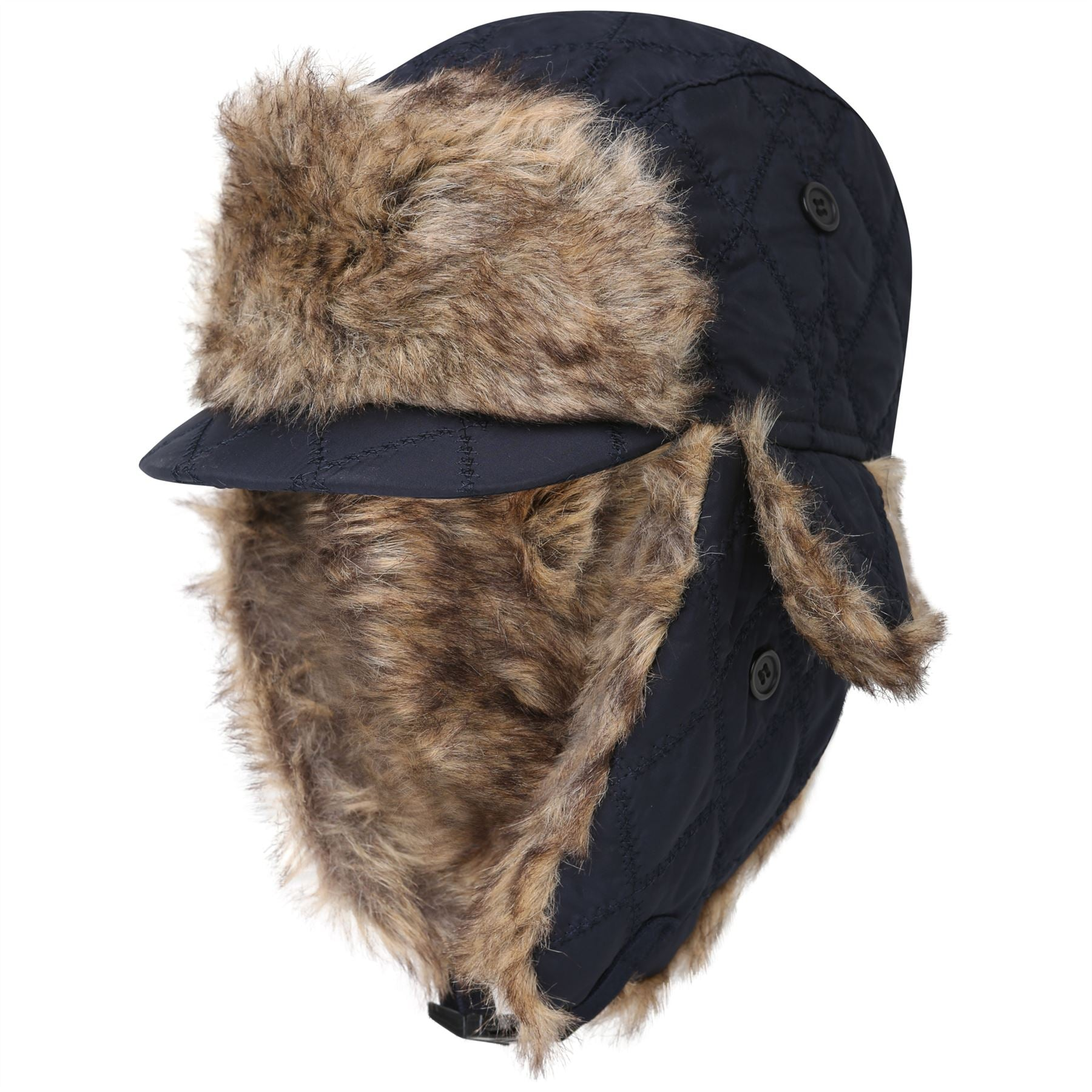 Quilted Peak Trapper Hat 20012  Mens Navy 58-60cm
