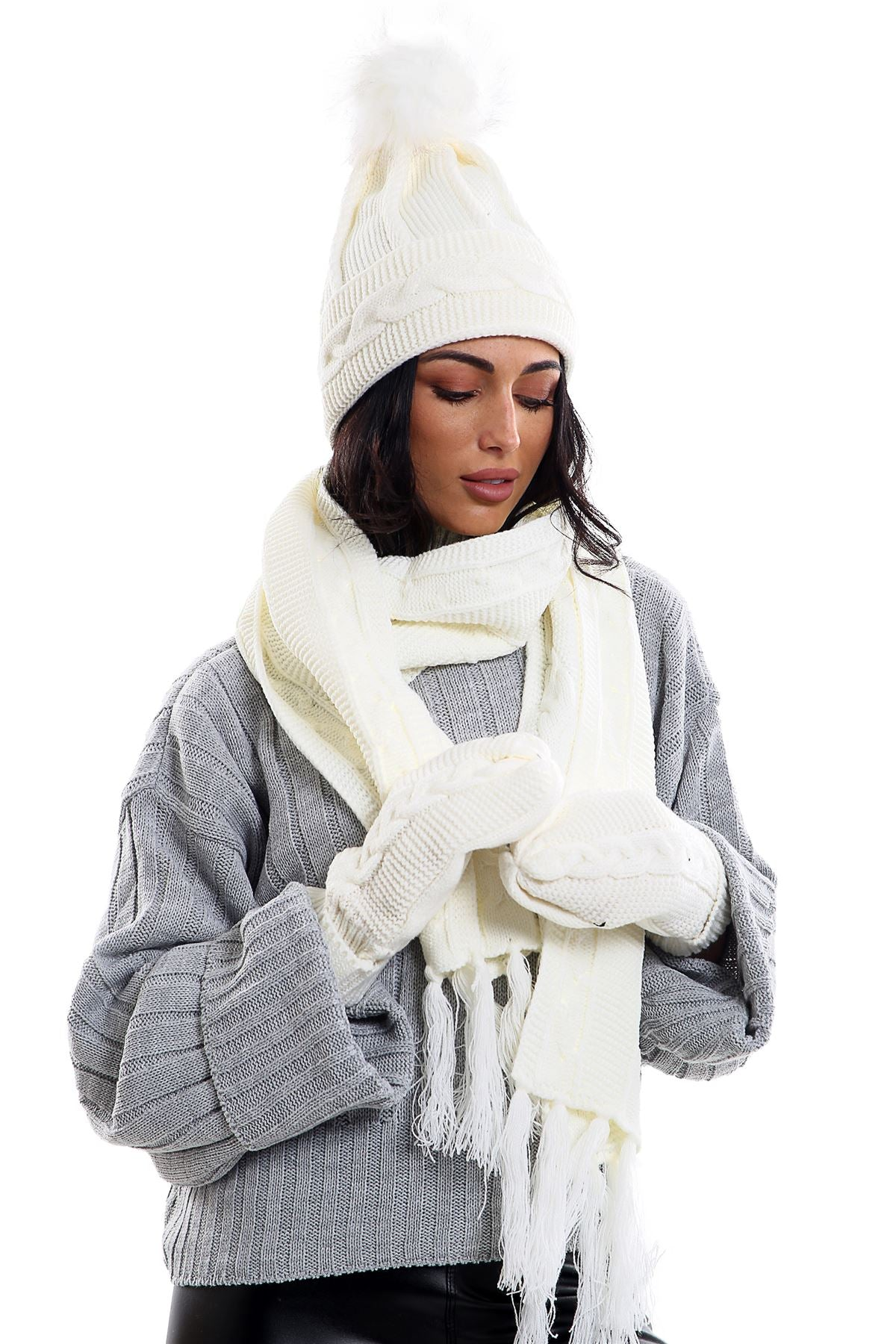 a683289dd82 Ladies LHTSF171 Wooly Thick Knitted Hat Scarf   Mitten Set - CREAM –  ViviFashion