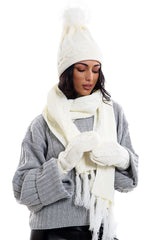 Ladies LHTSF171 Wooly Thick Knitted Hat Scarf & Mitten Set - CREAM